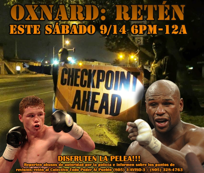 SATURDAY/SABADO 9/14/13: ALERTA: CONFIRMED CHECKPOINT/RETEN