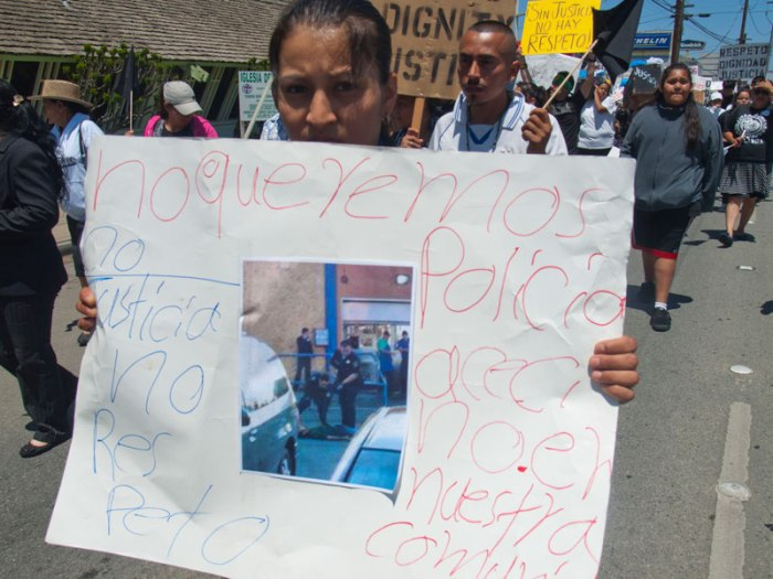 Salinas Police Officers shot and killed Osman Hernandez at Mi Pueblo Market on May 9.  No Queremos Policias Asesinos En Nuestra Comunidad. No Justicia No Respeto. We Do Not Want Killer Cops In Our Community. No Justice No Respect.  http://bradleyallen.net/