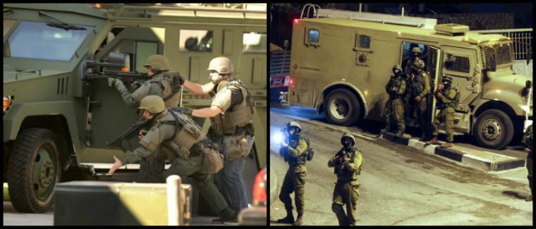 IZQUIERDA: Se observa un miembro del equipo SWAT desplegando un dispositivo no letal fuera del garaje de un apartamento donde se cree que un sospechoso armado puede estar atrincherado en Port Hueneme. (Rob Varela – Ventura County Star) DERECHA: patrullas militares israelíes por las calles de la ciudad cisjordana de Hebrón, en 06 de julio 2014 (Abed Al Hashlamoun—EPA)