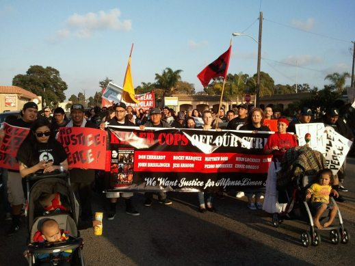 Over 200 marchers took the streets in unpermitted march against police terror on October 13, 2013; only one person was cited --multiple times.
